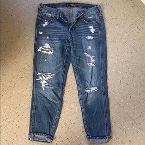 Distressed medium wash bf jeans